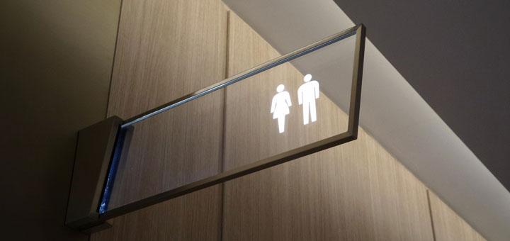 Zeichen für die Toilette auf der Zucker im Urin mit einem Selbsttest nachgewiesen werden kann