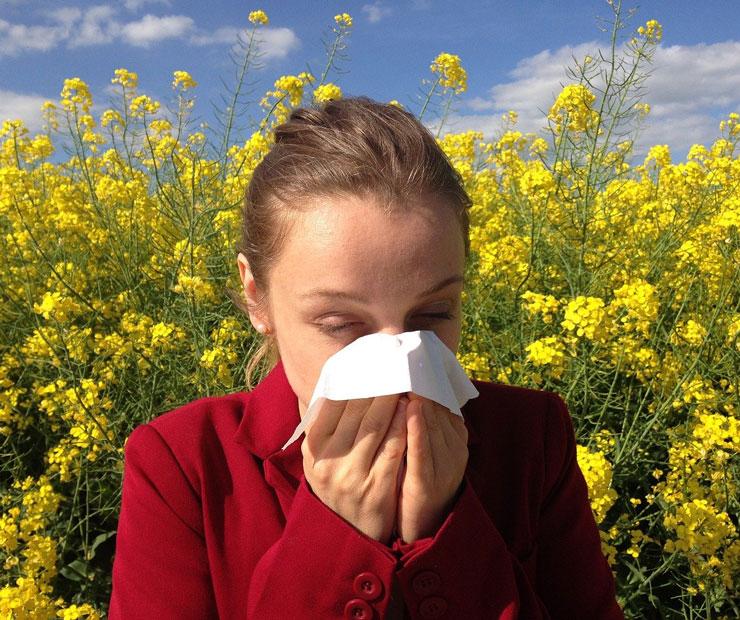 Frau putzt sich die Nase wegen der Pollenallergie
