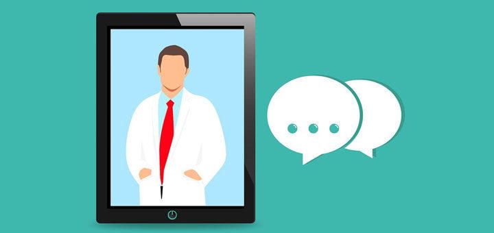 Ein Online-Arzt während einer Sprechstunde